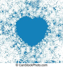 Snow background, White Snowflakes and Heart.