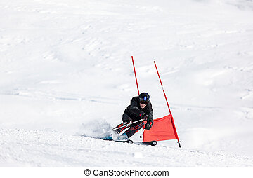 Young ski racer during a slalom competition.
