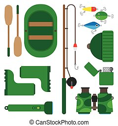 Icons theme of fishing - Boat fishing pole and all you need...