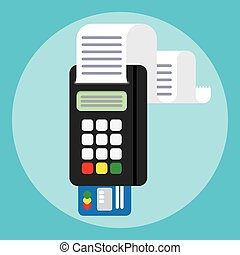 Pos terminal in flat style. payment. - Illustration pos...