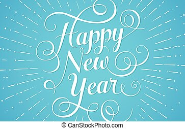 White lettering Happy New Year for greeting card on blue background. Vector illustration.