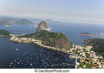Sugarloaf Mountain in Rio de Janeiro - Aerial view of...
