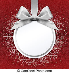 christmas ball with silver satin ribbon bow on red...