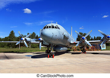 Aircraft in the parking lot - Four-engine piston aircraft on...