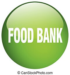 food bank green round gel isolated push button