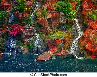 beauty waterfall landscape