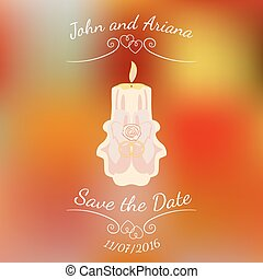Wedding beige burning candle over abstract colorful blurred vector background.