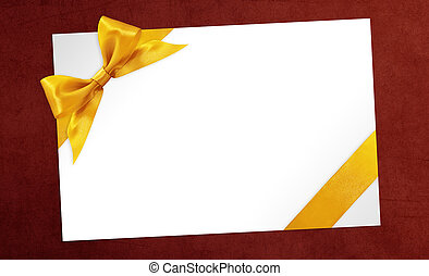 cards with gift golden ribbon bow Isolated on red background
