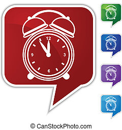 Alarm clock Speech Balloon Icon Set