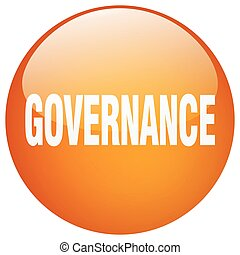 governance orange round gel isolated push button