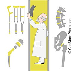 Set of Flat Icons From Surgery and Orthopedics - Set of Flat...