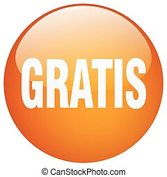 gratis orange round gel isolated push button