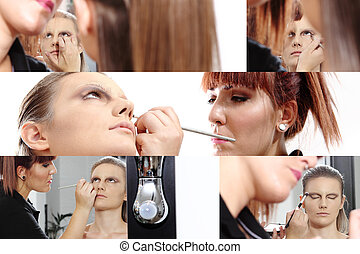 makeup artist applying mascara on eyes of model