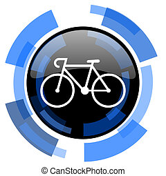 bicycle black blue glossy web icon