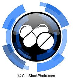medicine black blue glossy web icon