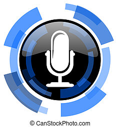 microphone black blue glossy web icon
