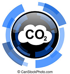 carbon dioxide black blue glossy web icon