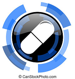 drugs black blue glossy web icon