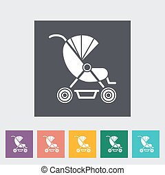 Pram flat icon - Pram icon Flat vector related icon for web...