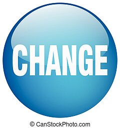 change blue round gel isolated push button