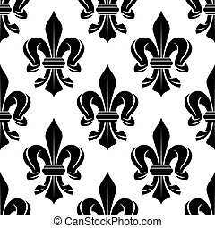 Black and white fleur-de-lis seamless pattern - Black and...