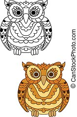 Forest brown owl with decorative feathers - Brown and yellow...