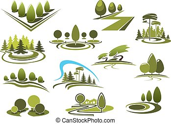 Green park, garden and forest landscape icons - Green summer...