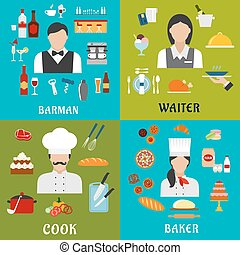 Cook, baker, waitress and barman professions - Cook, baker,...