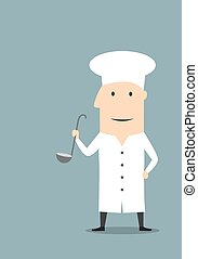 Cartoon chef in white uniform with ladle