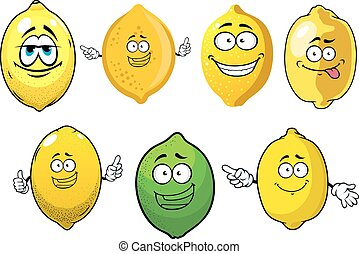 Cartoon ripe lemons and lime fruits - Fresh juicy yellow...