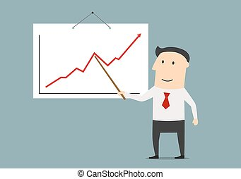 Businessman presenting a growing chart