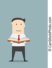 ?usinessman reading a book for new ideas - Cartoon...