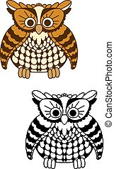 Fluffy owl bird with brown and yellow plumage - Cute cartoon...