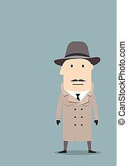Spy or detective agent in coat