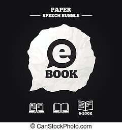 Electronic book signs E-Book symbols - Electronic book icons...