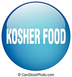 kosher food blue round gel isolated push button