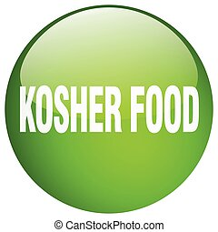 kosher food green round gel isolated push button