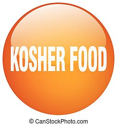 kosher food orange round gel isolated push button