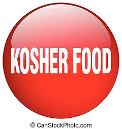 kosher food red round gel isolated push button