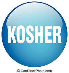 kosher blue round gel isolated push button