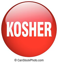 kosher red round gel isolated push button