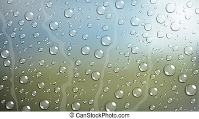 Rain Drop on windshield car window - Vector Illustration Of...