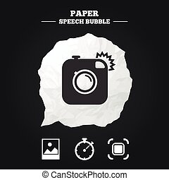Photo camera icon Autofocus zone and Landscape - Hipster...
