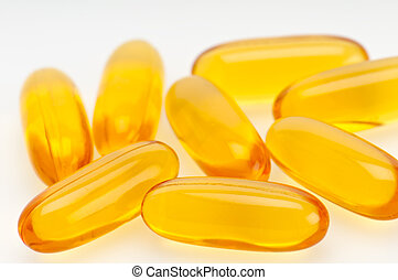 Omega 3 pills closeup