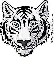 White tiger Head - Vector Illustration Of White tiger Head...