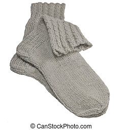 Warm grey knitted woolen socks, large detailed isolated...