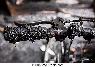 Bicycle burned handlebars detail