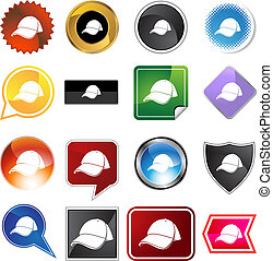 Baseball cap Variety Icon Set - Baseball cap variety icon...