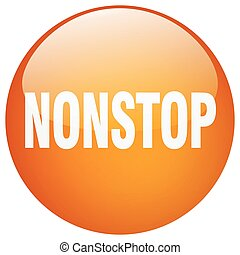 nonstop orange round gel isolated push button