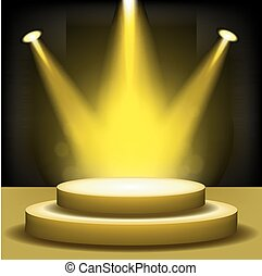 Spotlight shining on empty stage - Vector Illustration Of...